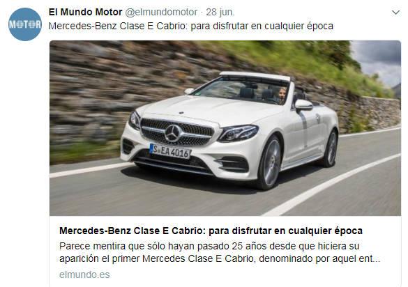 Tweet de El Mundo Motor sobre el Mercedes-Benz Clase E