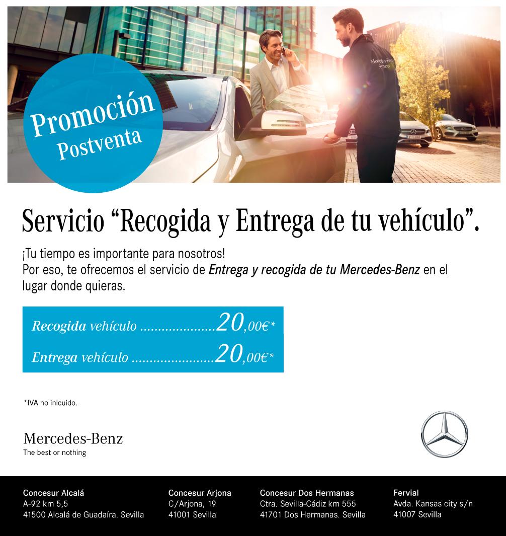 Servicio entrega y recogida del vehículo Concesur y Fervial Mercedes-Benz Sevilla