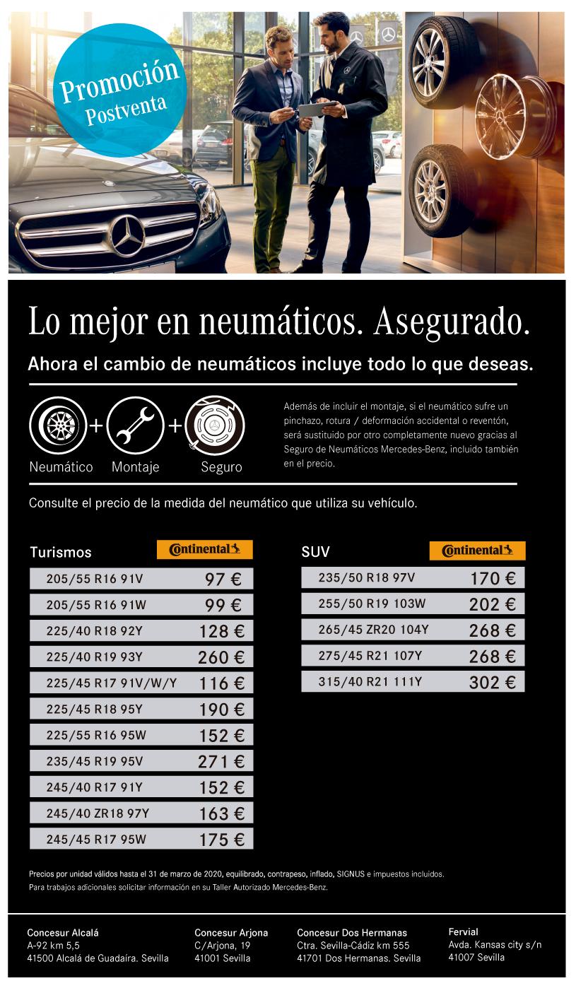 Promoción precios neumáticos turismos Concesur y Fervial Mercedes-Benz Sevilla