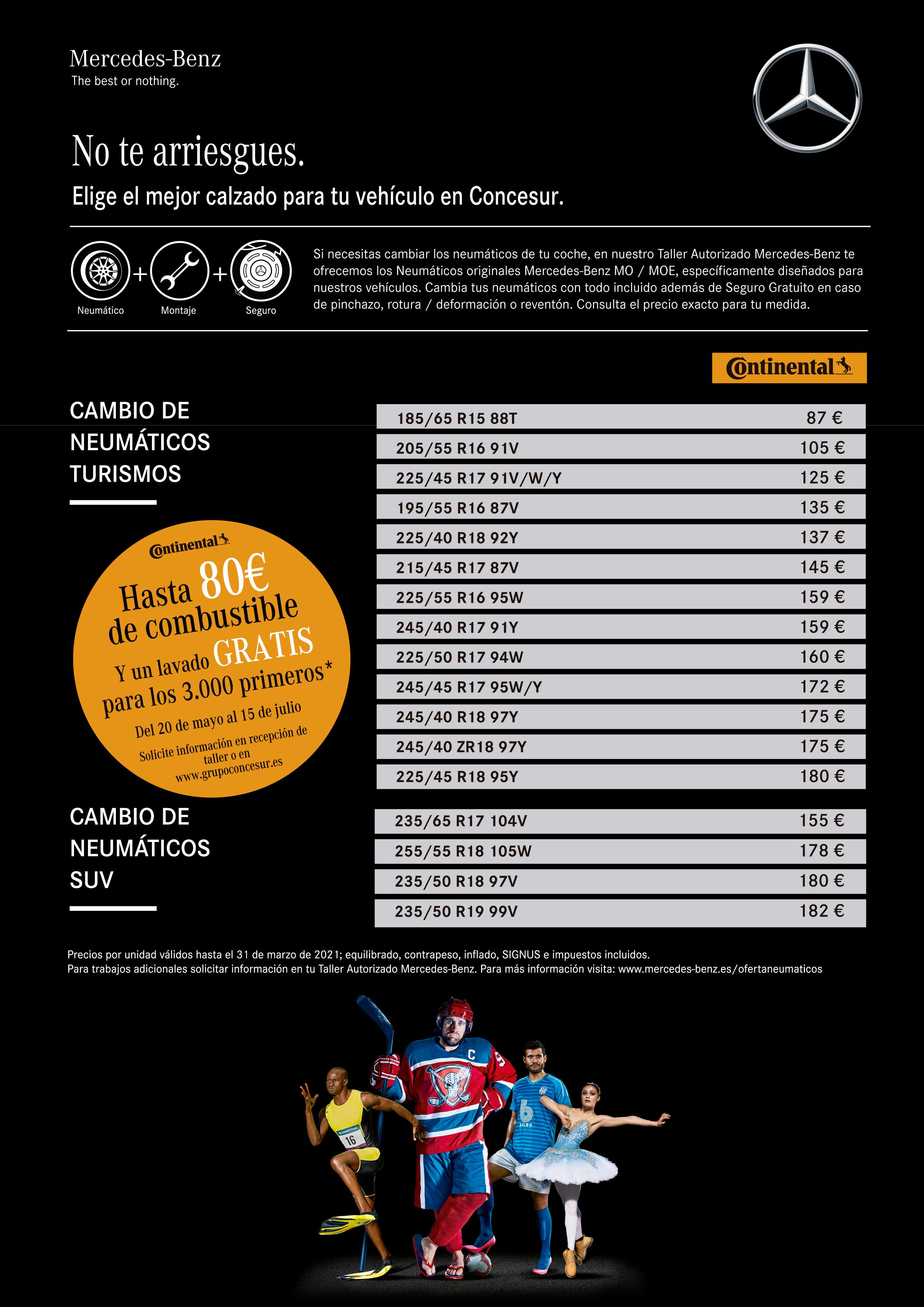 Promoción precios neumáticos Continental Concesur Mercedes-Benz Sevilla