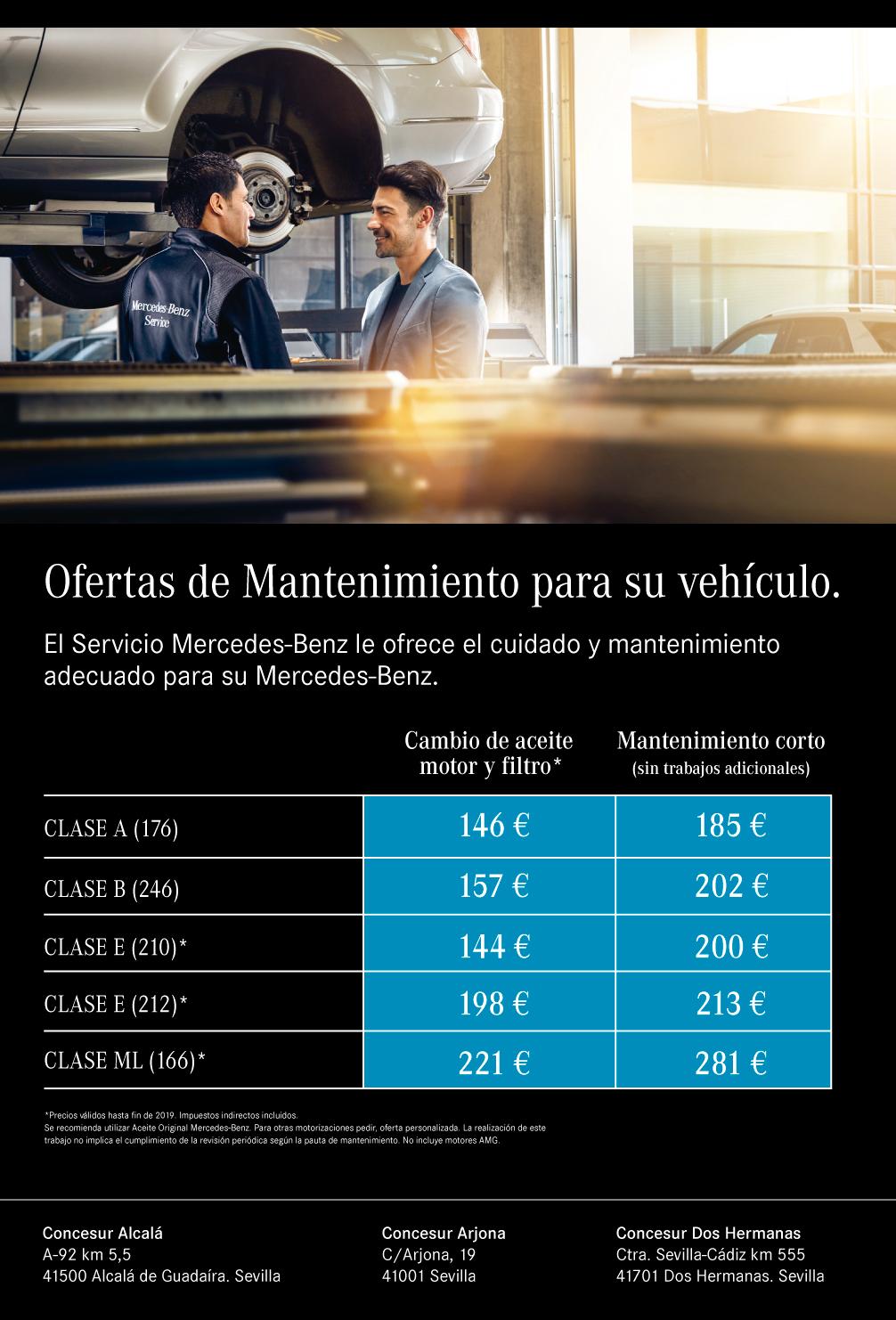 Promoción precios mantenimiento turismos Concesur y Fervial Mercedes-Benz Sevilla