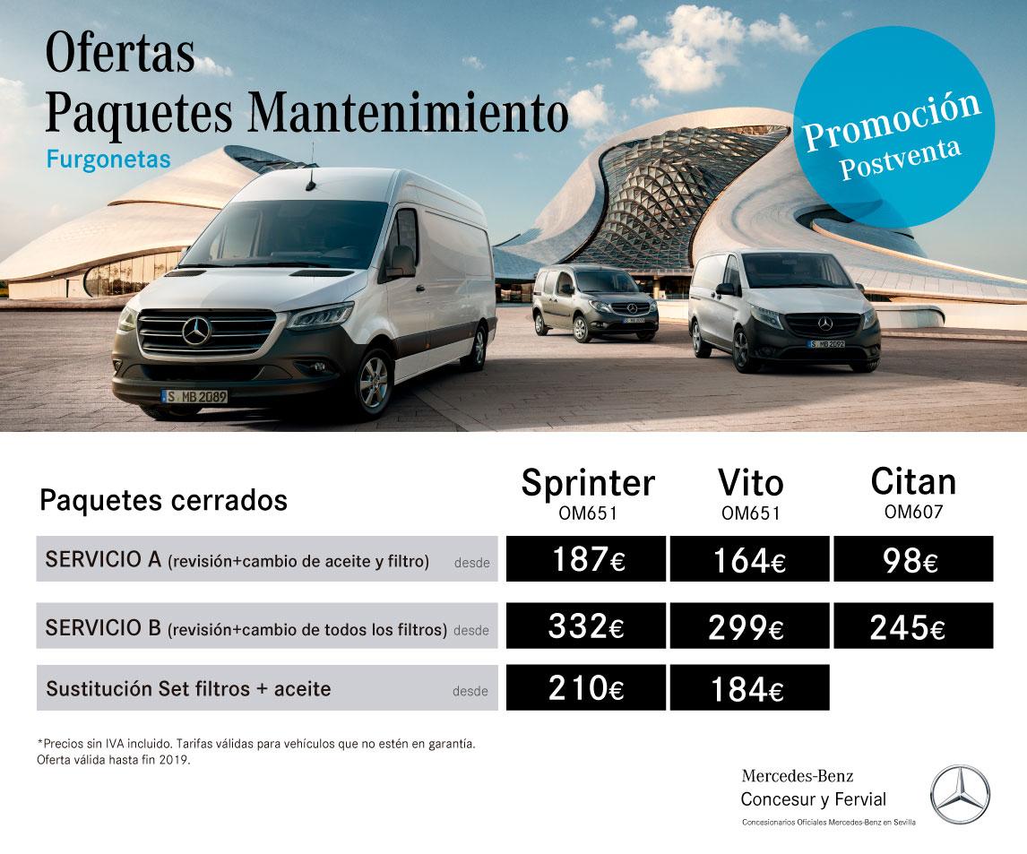 Precios-cerrados-mantenimiento furgonetas Concesur Mercedes-Benz